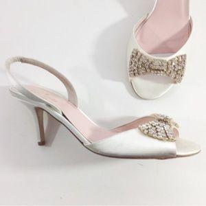 Kate Spade White Satin Wedding Bow Sandal Shoe